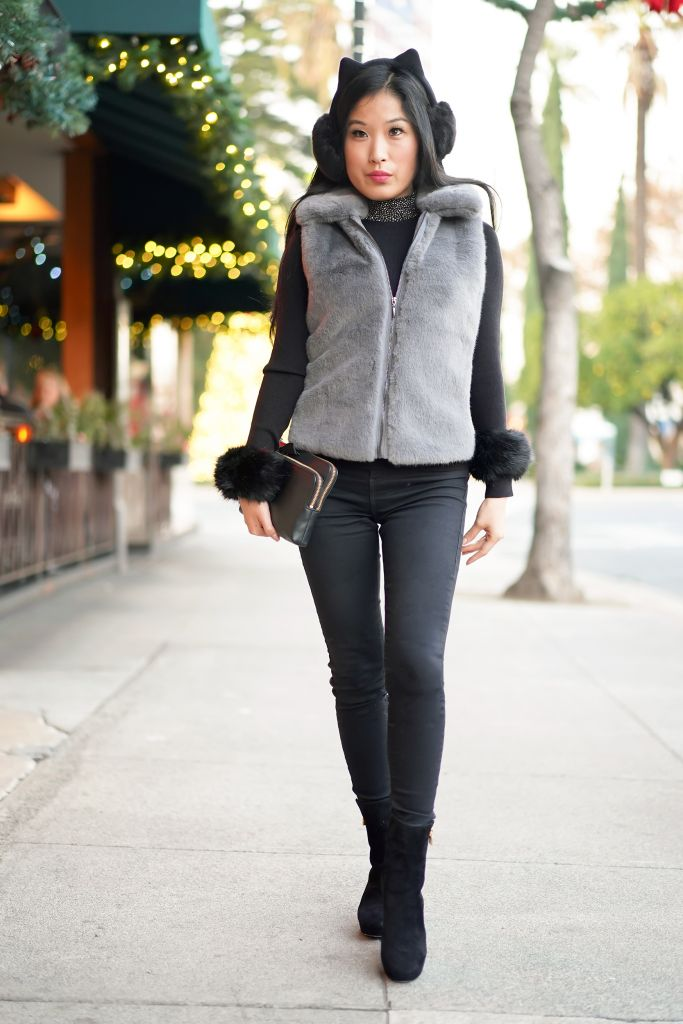 Cats Movie Musical Fashion Inspiration, Cat Ear Muffs from Kate Spade, Faux Fur Vest and Cuffs