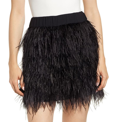 Chelsea28 Feather Black Mini Skirt