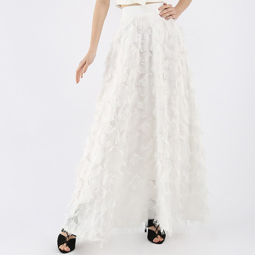 Chicwish Dancing Feathers Tassel Maxi Skirt in White