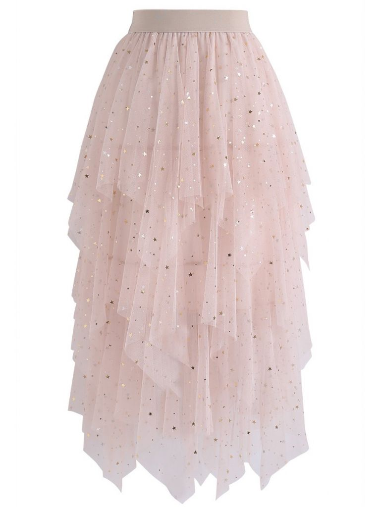 Chicwish Shooting Stars Asymmetric Tiered Mesh Skirt in Pink