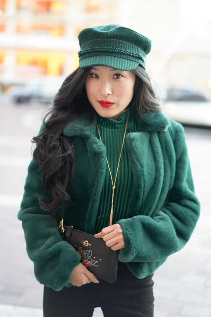Privacy Please Lynnsey Emerald Green Crop Top, Brixton Albany Cap in Emerald Green, BLANKNYC Cropped Faux Fur Emerald Green Jacket
