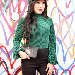 Privacy Please Lynnsey Emerald Green Crop Top, Brixton Albany Cap in Emerald Green, Wizard of Oz Coach Wristlet, Courtney Kato