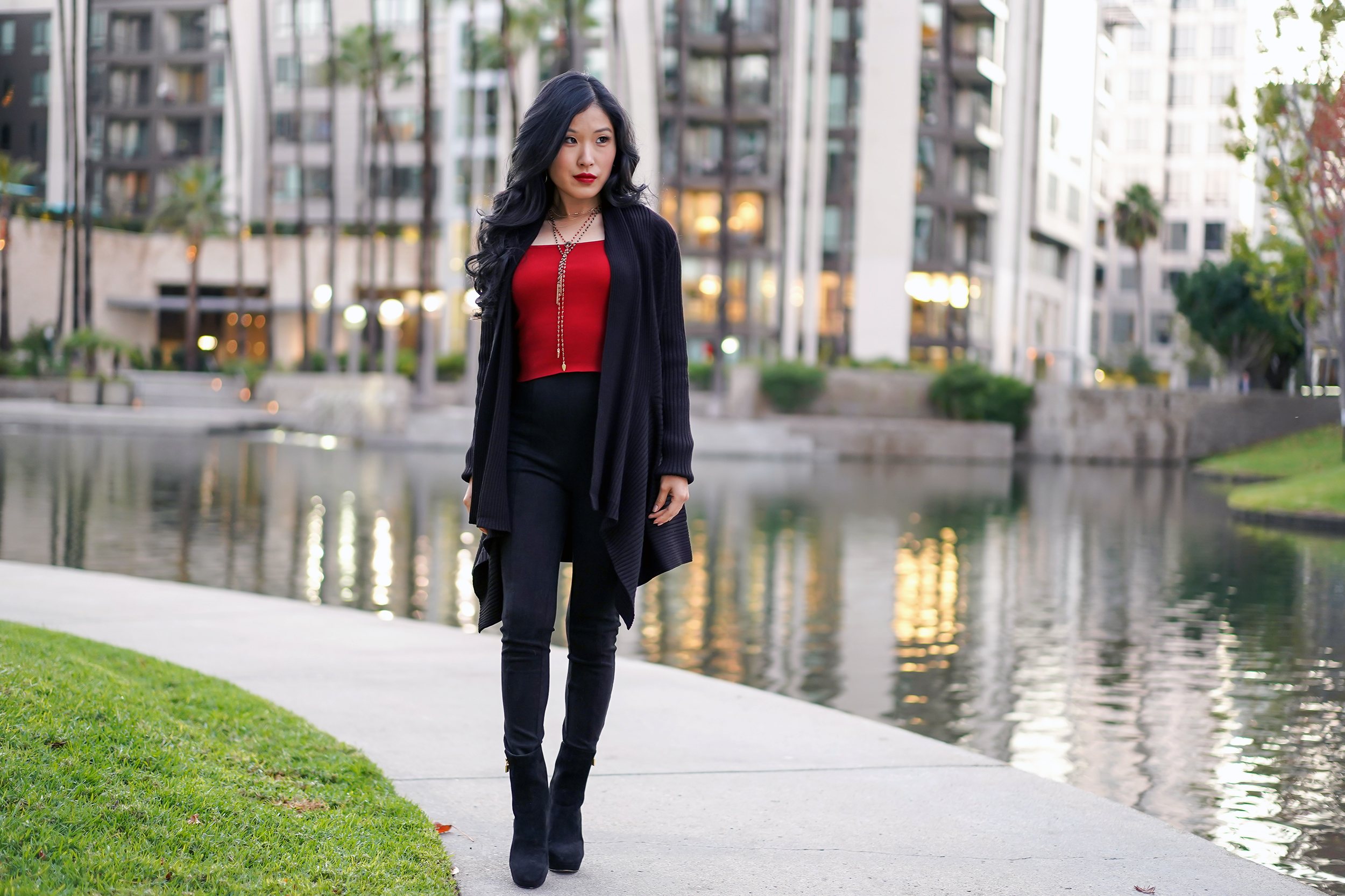 Red and Black Look: Express Cropped Puff Sleeve Red Sweater, White House Black Market ribbed Cover-Up Sweater, Free People Red and Black Beaded Necklace