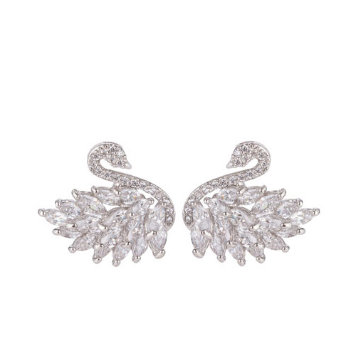 Eye Candy LA Cubic Zirconia Swan Stud Earrings