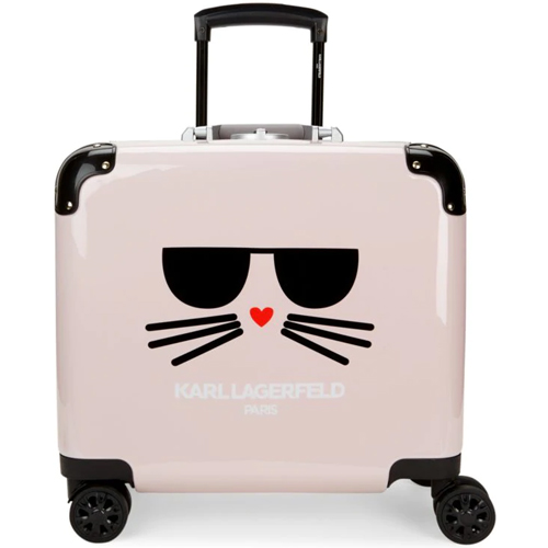 Karl Lagerfeld Paris Pink Cat Spinner Suitcase