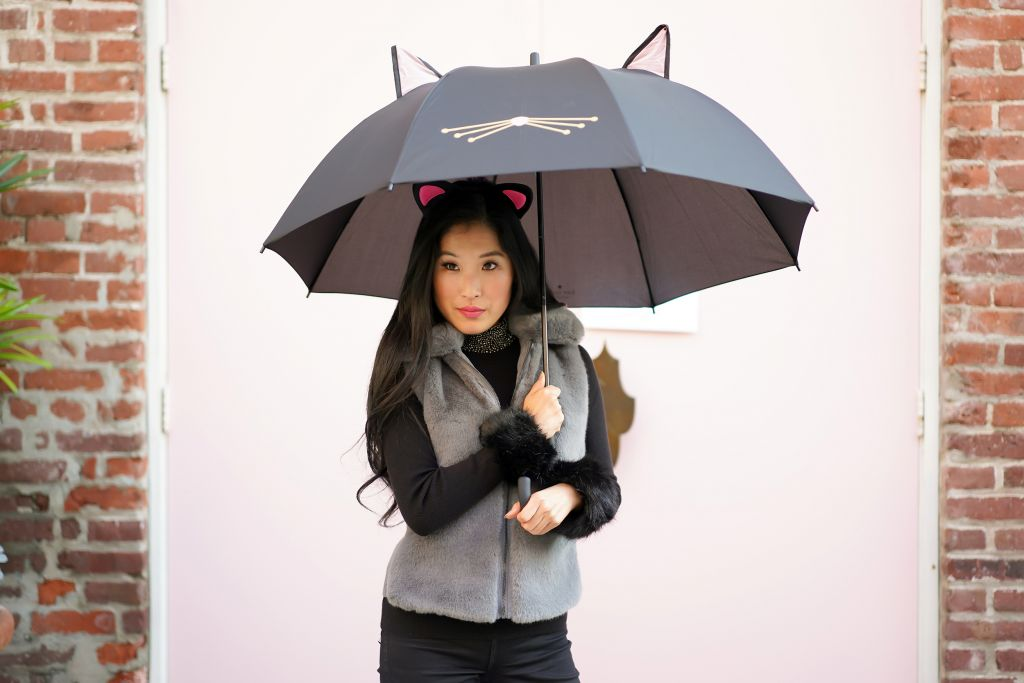Kate Spade Cat Umbrella, White House Black Market Faux Fur Grey Vest, Faux Fur Cuffs and Black Embellished Collar Sweater, Cats Movie Look