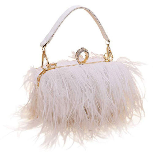 Komii Women Fluffy Ostrich Feather Evening Dress Purse