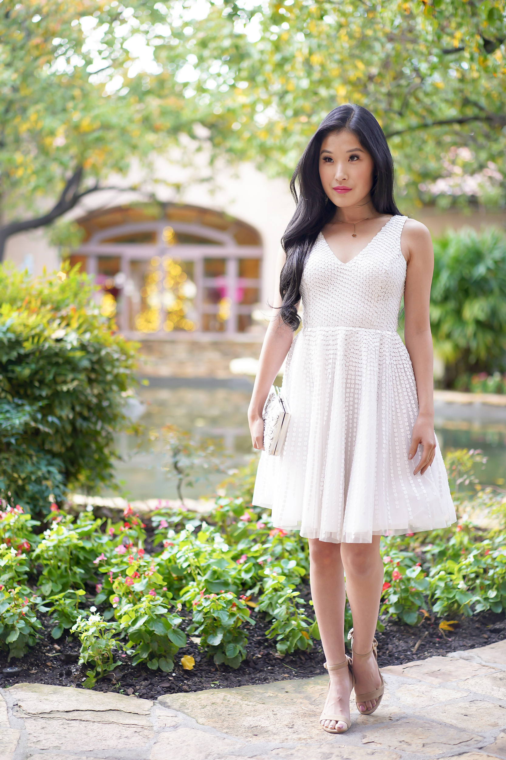 Parker Theater Dress in White, Sequin Tulle V-Neck White Dress, Courtney Kato