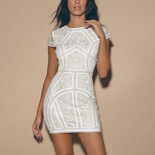 Lulus Spread Your Shine White Sequin Embroidered Bodycon Dress