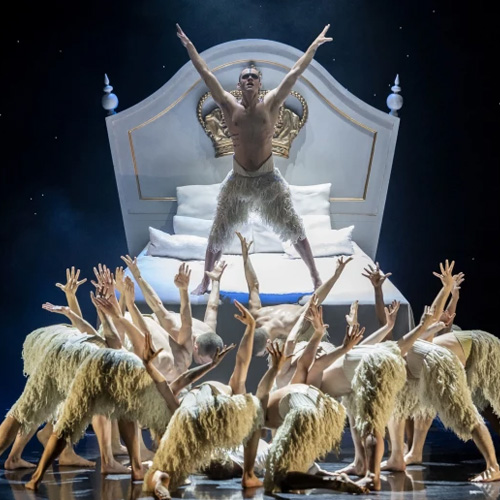 "Will Bozier (center) and company in Matthew Bourne's ""Swan Lake"" at Center Theatre Group/Ahmanson Theatre. Photo by Craig Schwartz."