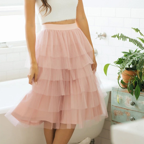 Morning Lavender Rosa Tulle Tiered Midi Skirt