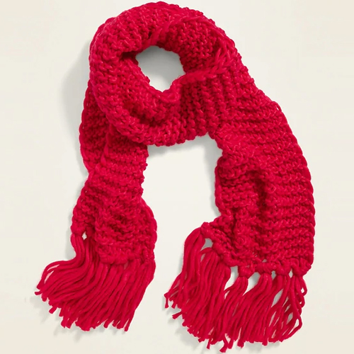 Old Navy Robbie Red Textured-Yarn Fringed Scarf for Women