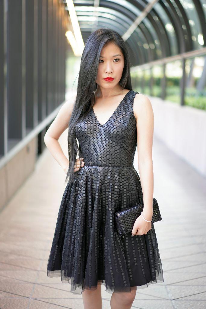 Parker Theater Dress in Black, Sequin Tulle V-Neck Black Dress, Courtney Kato
