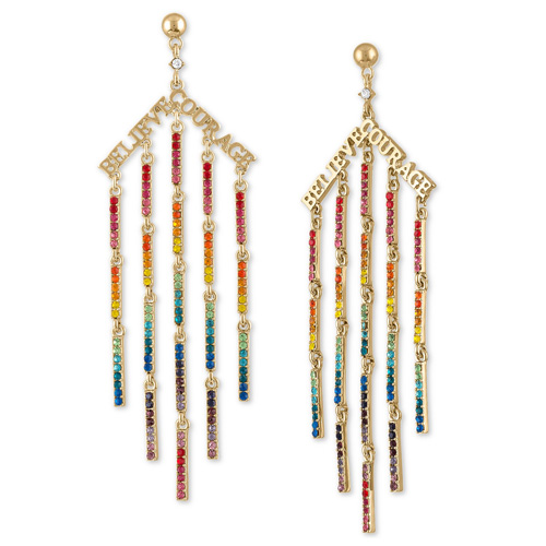 Rachel Roy Gold-Tone Rainbow Crystal Believe & Courage Chandelier Earrings