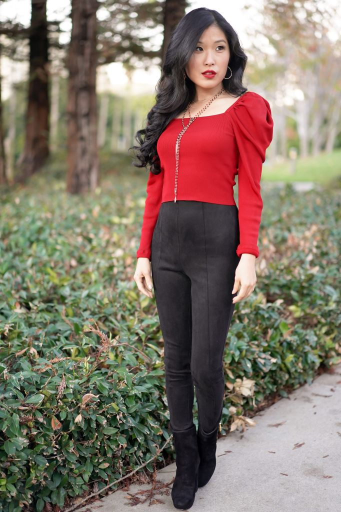 Red and Black Holiday Look: Express Red Cropped Puff Sleeve Sweater and Forever 21 Faux Suede Leggings