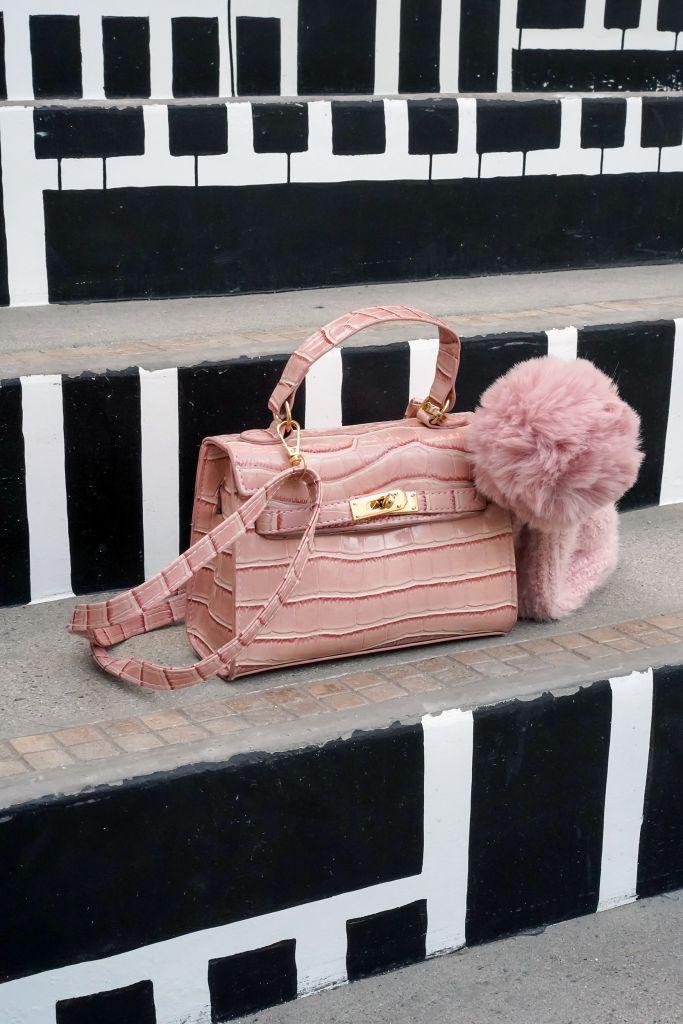 SHEIN Crocodile Print Pink Shoulder Bag, Forever 21 Pom Pom Pink Beanie