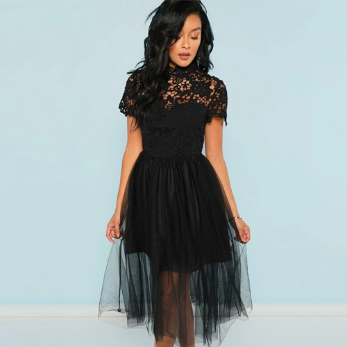 SHEIN Guipure Lace Top Tulle Dress