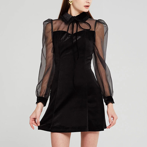 Storets Sophia See-Thru Sleeve Velvet Dress