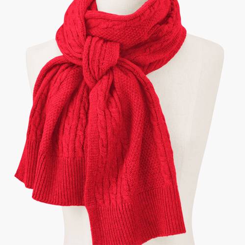 Talbots Cable Stitch Red Scarf