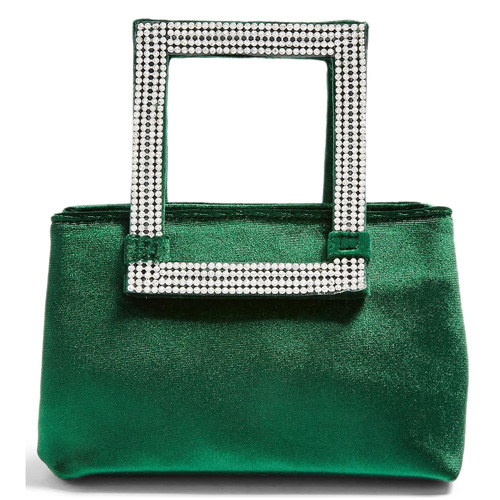 TOPSHOP Elle Velvet Diamante Handle Green Bag