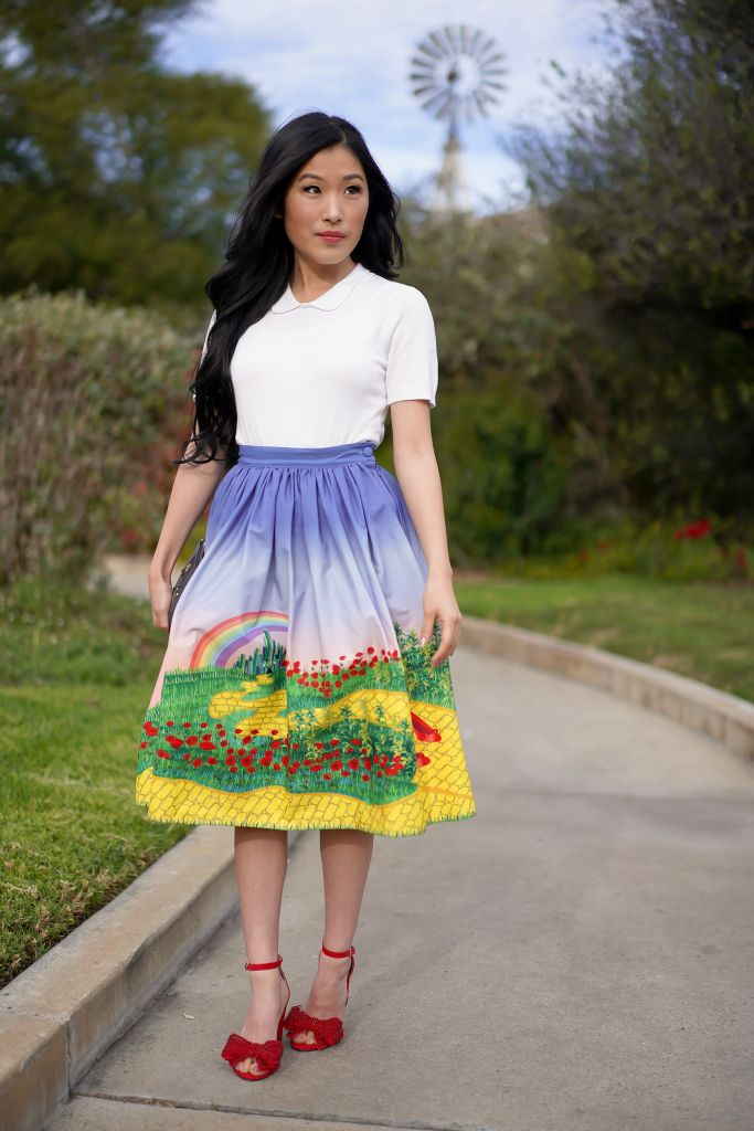 Wizard of Oz Dorothy Look: Unique Vintage Yellow Brick Road Print High Waist Swing Skirt, Red Bow Shoes
