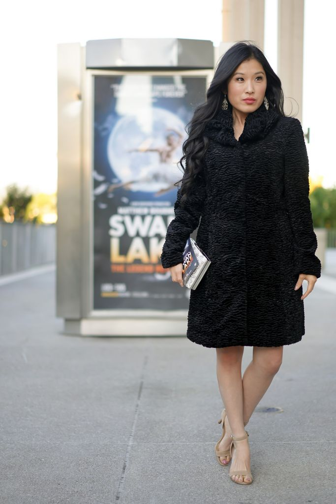 Matthew Bourne's Swan Lake at Ahmanson Theatre, White House Black Market Faux Fur Black Persian Coat
