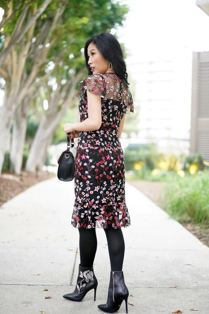 Aqua Floral Embroidered Dress Back View with Target Mini Satchel in Black with Heart Shaped Design Handle and Michael Michael Kors Viera Embellished Ankle Rose Boot