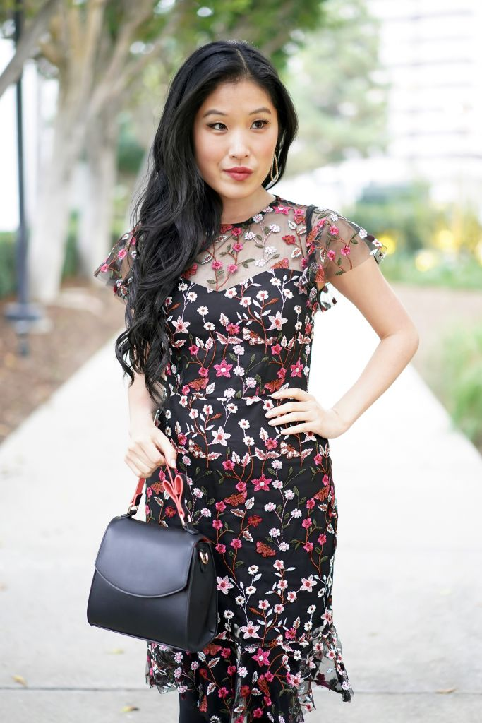 Aqua Floral Embroidered Dress with Target Mini Satchel in Black with Heart Shaped Design Handle
