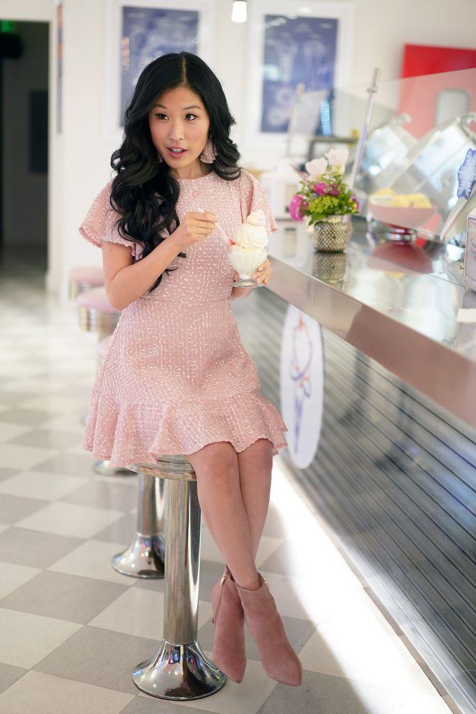 Atomic Creamery Vanilla Ice Cream, Selfie Leslie Isabelle Angel Sleeve Empire Dress in blush, Pink Booties
