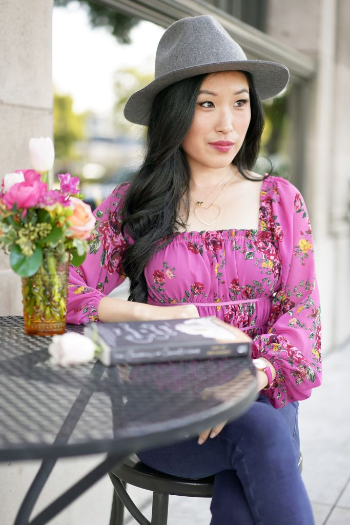 WAYF Juniper Pink Floral Gathered Smocked Peplum Top, Brixton Grey Wesley Fedora, Heart Necklace