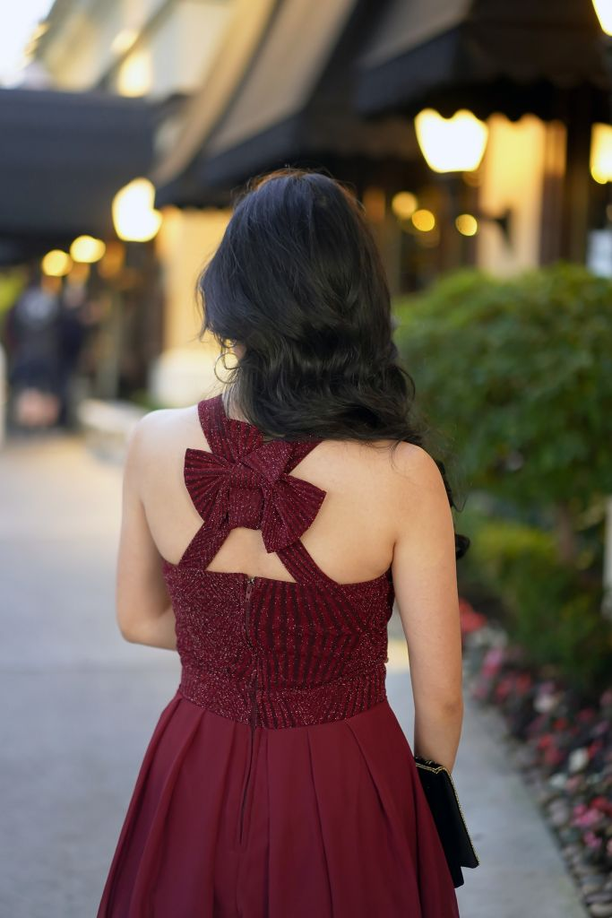 Francesca's Lilith Back Bow Flare Dress