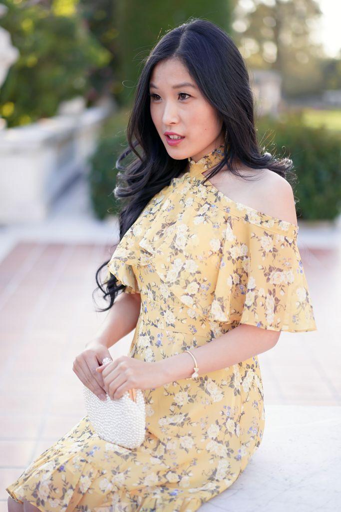 Chicwish Yellow Peony Print Halter Neck Ruffle Dress