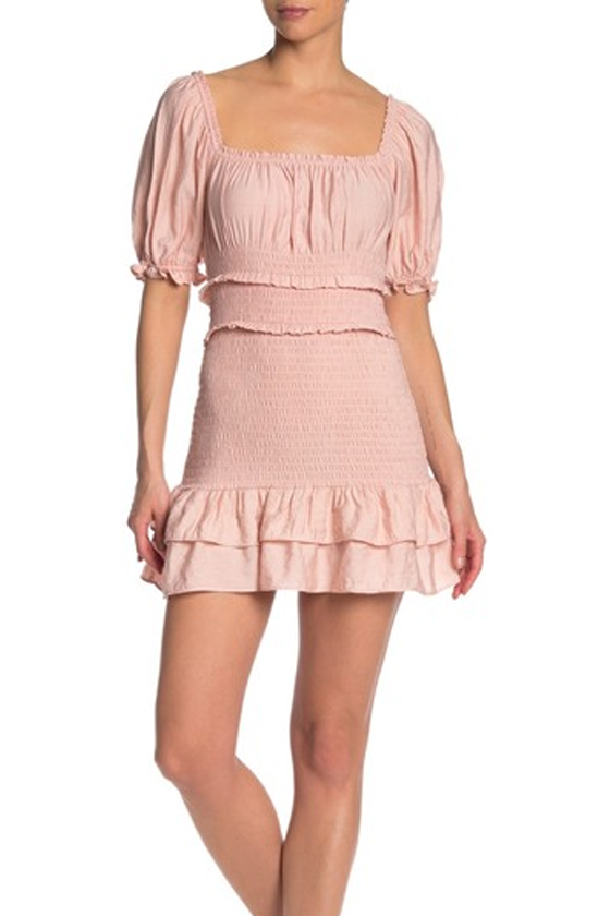 Do + B Smocked Puff Sleeve Mini Blush Dress