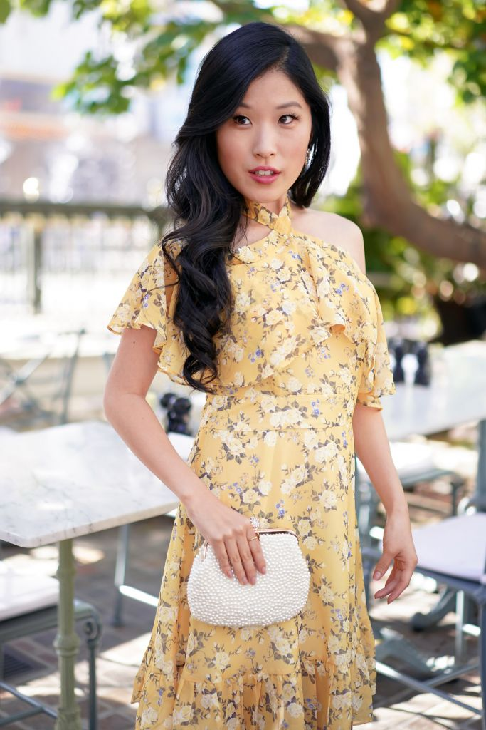 Chicwish Yellow Peony Print Halter Neck Ruffle Dress and faux pearl clutch
