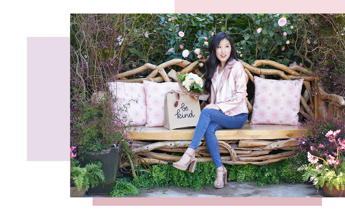 Courtney Kato, Courtney Elise Kato Entertainment and Style About Picture, Pink Moto Jacket, Be Kind Bag