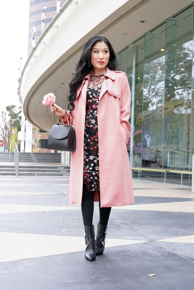 What to Wear to the Theatre: Forever 21 Faux Suede Duster Jacket in Rose, Target Mini Satchel Handbag with heart design in handle over Aqua Floral Embroidered Black Dress