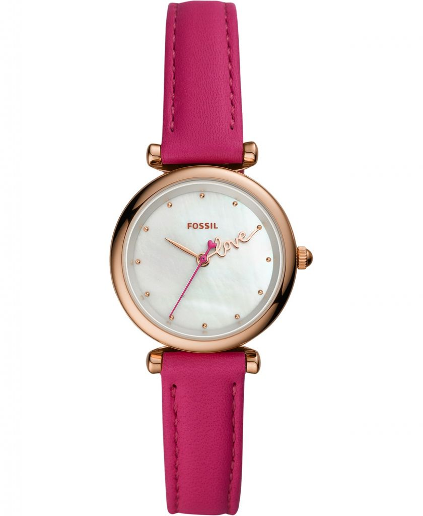 Fossil Women's Mini Charlie Hot Pink Strap Watch