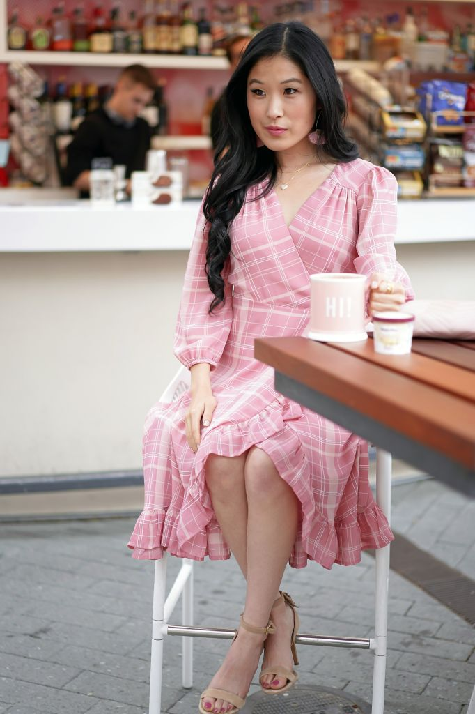 George's Cafe in Costa Mesa with Hot Chocolate, Francesca's Leticia Plaid Pink Wrap Dress