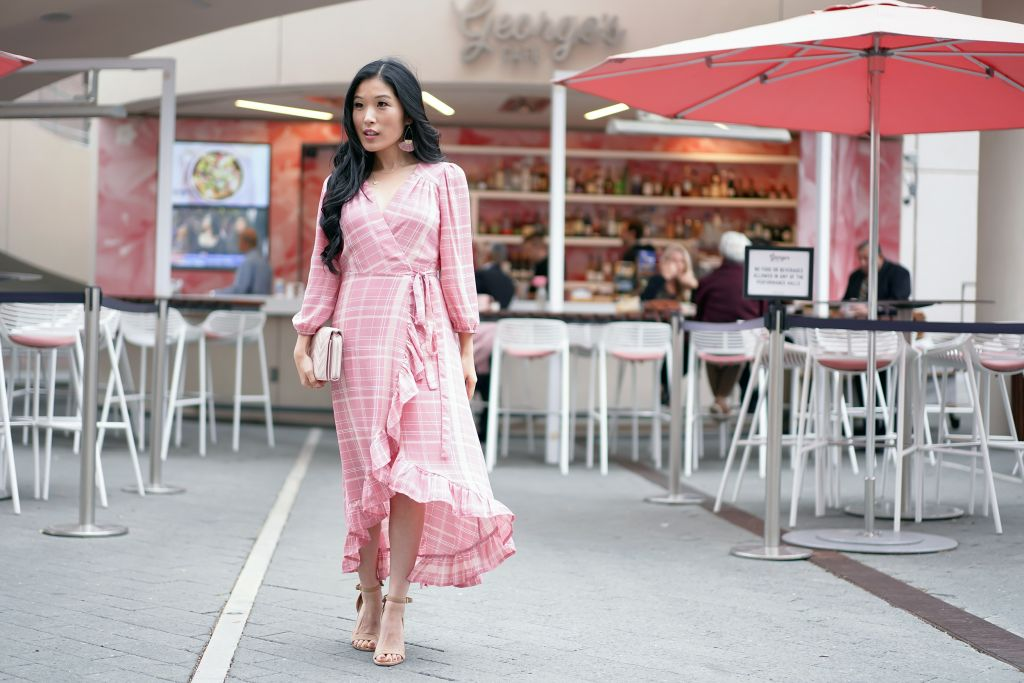 George's Cafe at Segerstrom Center for the Arts Plaza, Francesca's Leticia Plaid Pink Wrap Dress and Veronica Quilted Pink Nude Wallet