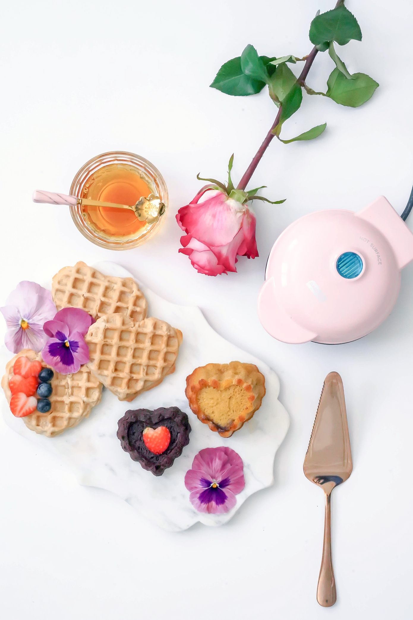 Dash mini heart waffle maker in pink, Gluten-Free Vegan Mini Heart Waffles, Heart Brownies, Heart Blueberry Muffins