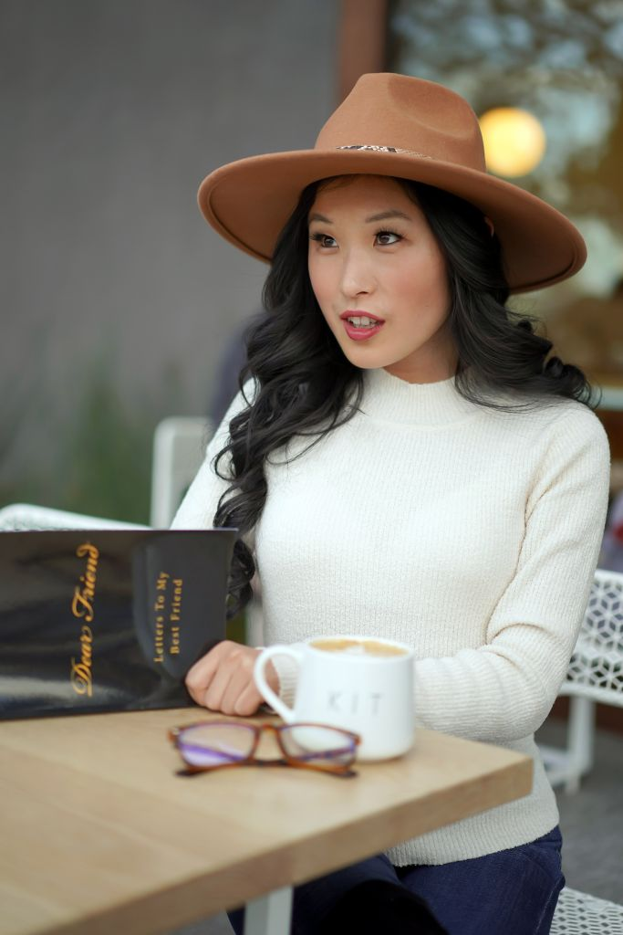 Kit Coffee Newport Beach, Dear Friend Journal, Le Lis Sweater and Fedora