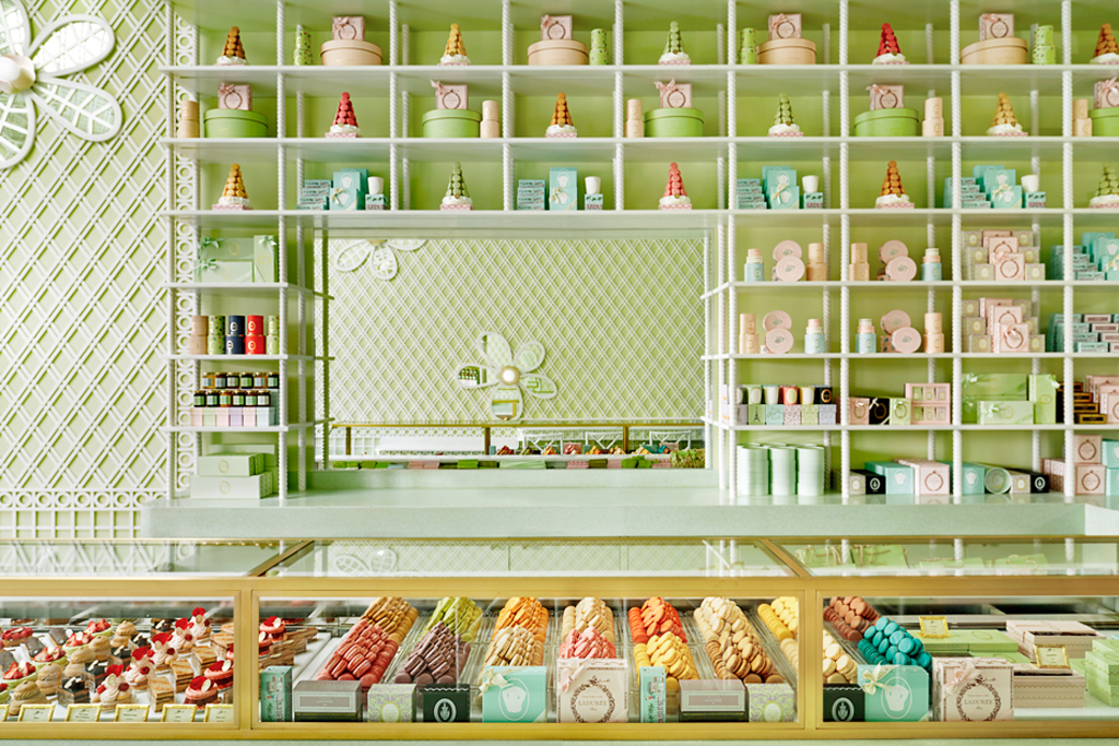 Laduree Beverly Hills Interior, Macaroon Shop Counter