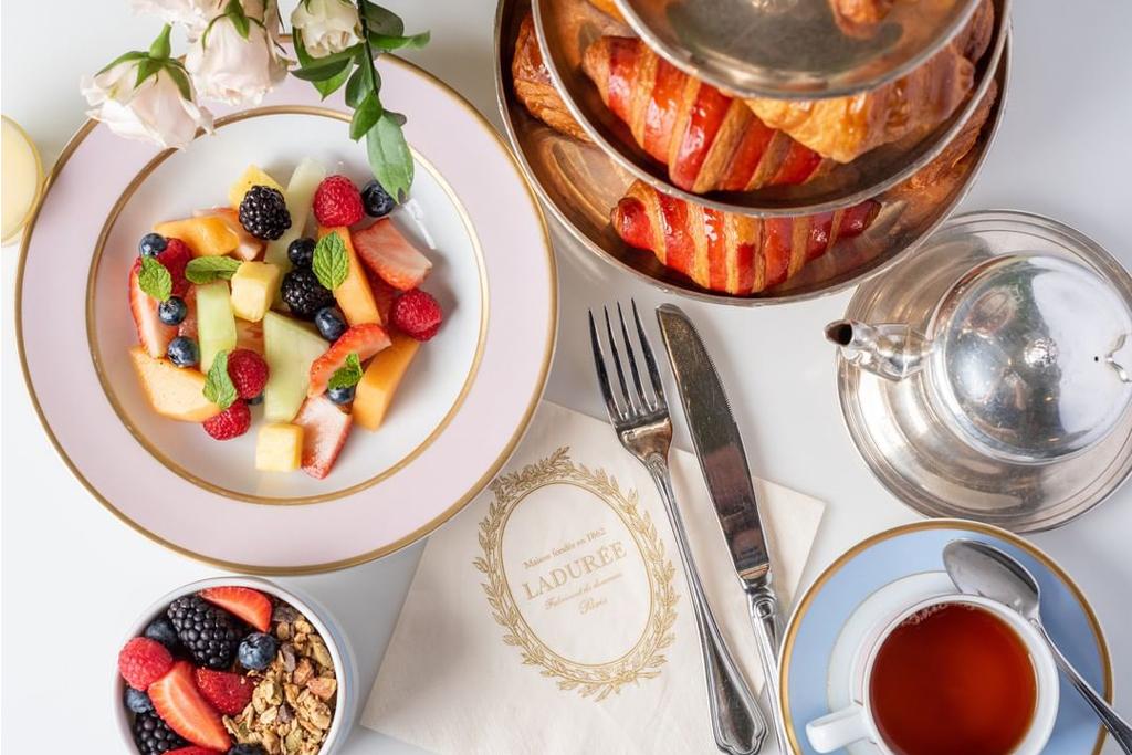 Laduree Beverly Hills Fruit, Granola, Tea and Croissants