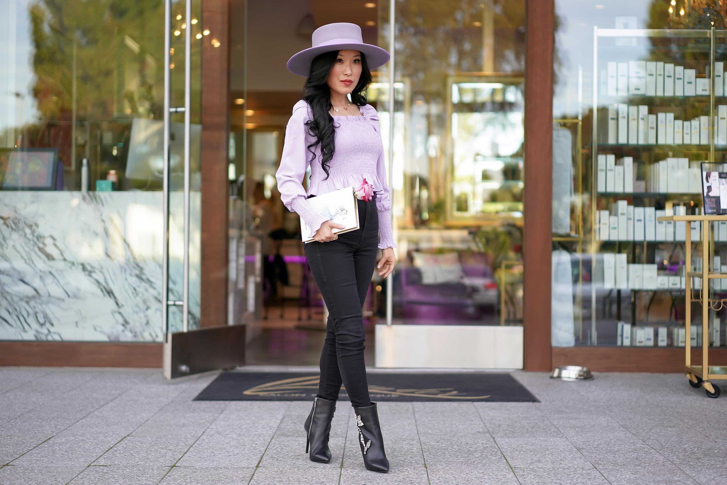 Olive & Pique Vida Boater Lavender Hat, Sugarlips Lavender Smocked Top