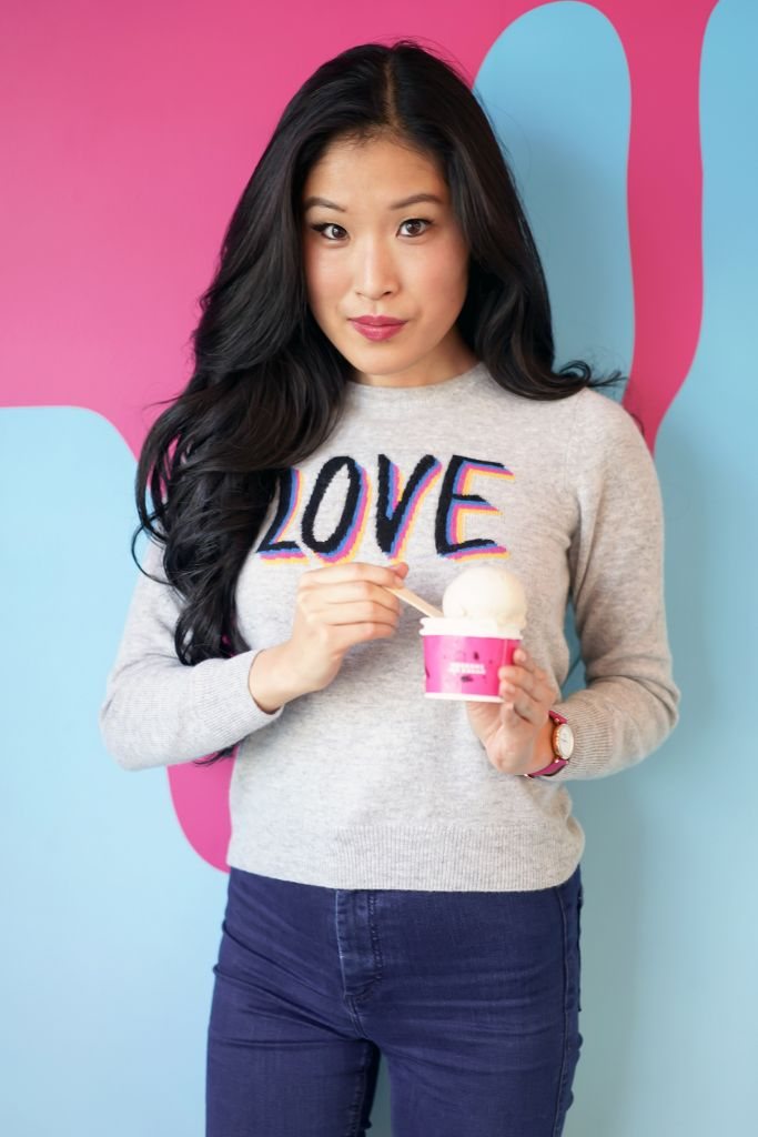 Love Sweater, Coolhaus Dairy Free and Gluten Free Vanilla Ice Cream Scoop and Pint