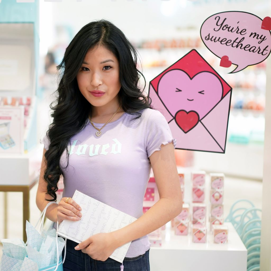 La La Land Creative Co Lavender Loved Lettuce Edge Tee, Target Sugarfix and BaubleBar Heart Pendant Necklace, Kate Spade Love Journal outside Sugarfina Store with Love Letter Candy Boxes for Valentine's Day