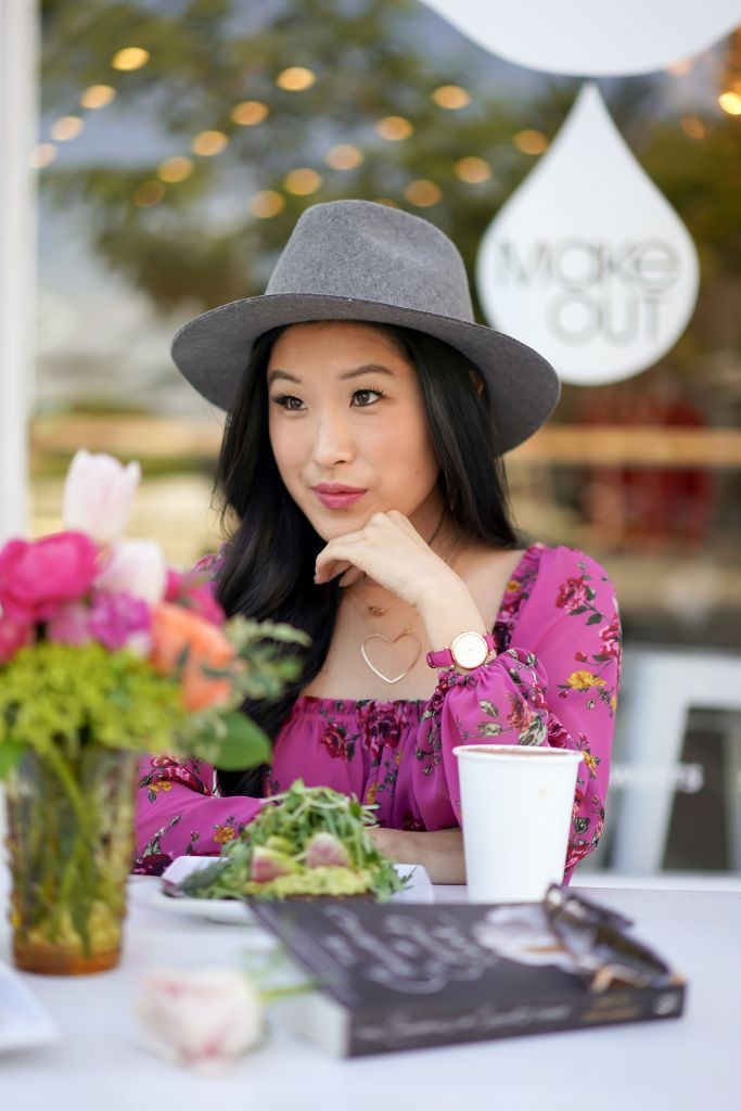Make Out Restaurant, WAYF Juniper Floral Gathered Smocked Peplum Top, Brixton Grey Wesley Fedora, Heart Necklace and Fossil Love Watch