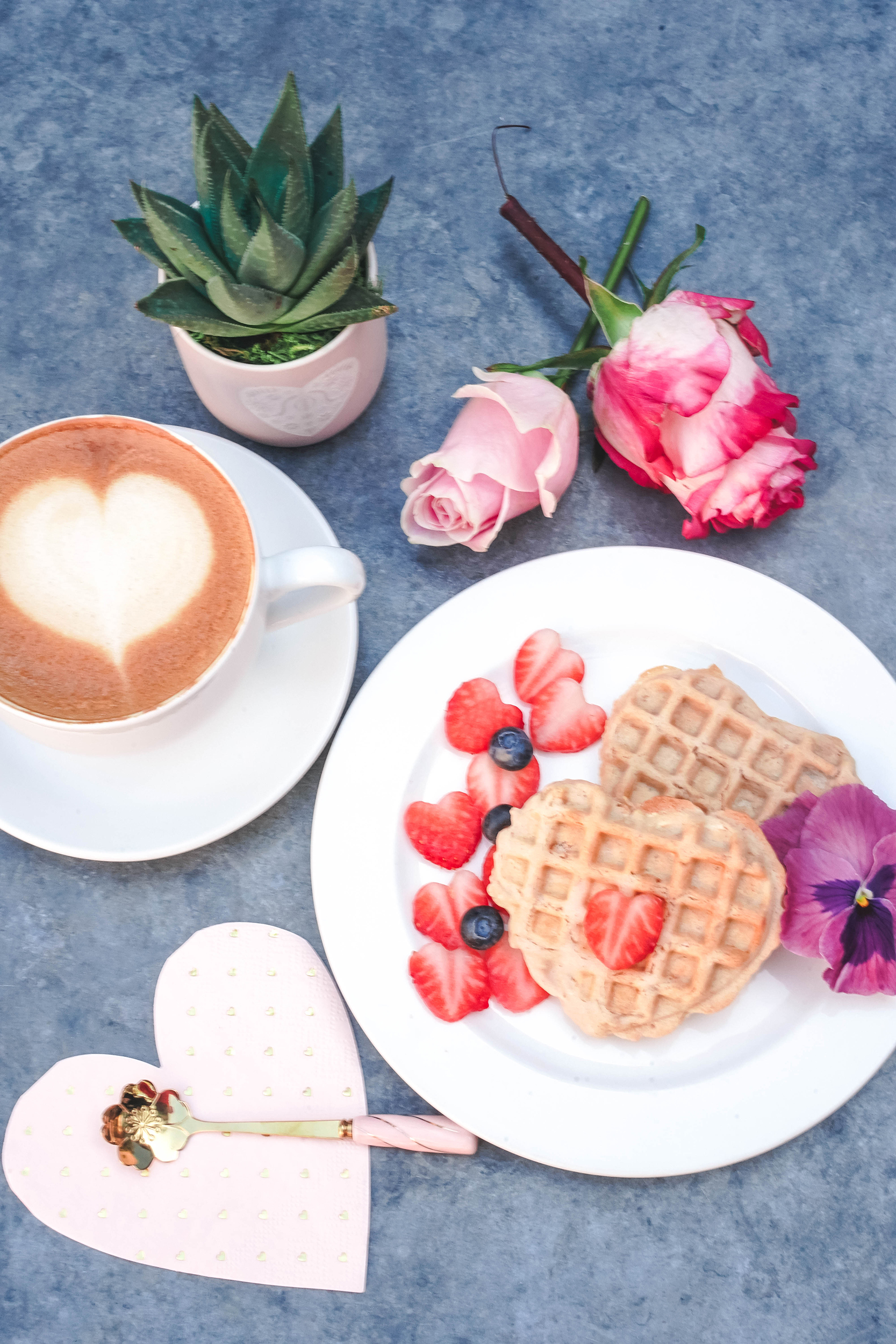 Gluten-Free Vegan Mini Heart Waffles, Flower Coffee Spoon, Heart Latte