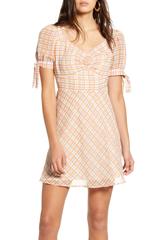 Moon River Puff Sleeve Plaid Mini Dress