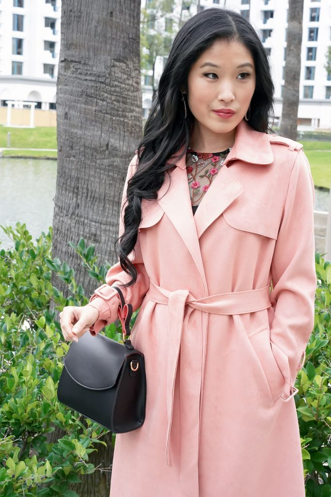 What to Wear to the Theatre: Forever 21 Faux Suede Duster Jacket in Rose, Target Mini Satchel Handbag with heart design in handle